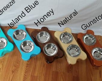Medium Handmade Raised Dog Bowl Stand/Feeder