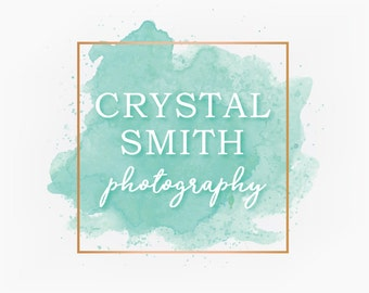 Premade Mint Turquoise Teal and Rose Gold Square Watercolor Logo Design