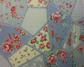 Vintage Rose Fabric 100% Cotton Material By Metre Flowers Floral Patchwork Cushions Bags Bunting