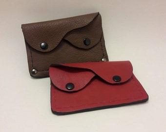 Leather, wallet, card holder, snap, 2 pocket, modern, compact,
