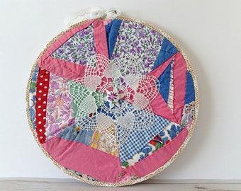 Crazy quilt hoop art, crazy quilt decor, shabby fabric art, multicolor hoop art, Boho hoop art, circle wall hanging, patchwork hoop art