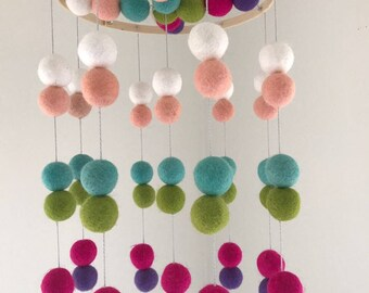 Felt Ball Mobile - Baby Crib Mobile - Baby Cot Mobile - Nursery Decor - Double Ball Pattern