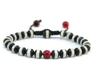 Elysia * Agate & Cat's Eye Boho Style Pull - Tie Bracelet