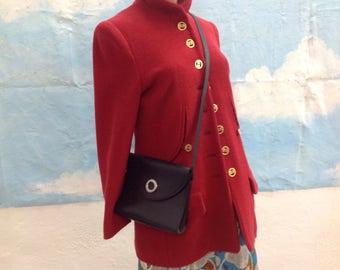 Coccinella vintage purse| shoulder bag vintage|  70s Coccinella bag | Borsa Furla | leather Bag Furla | Navy leather purse