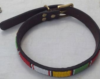 Dog collar, Beaded dog collar, Handmade collar, leather dog collar, African collar, Pet collar,African dog collar, Pet gift, Gift for pooch
