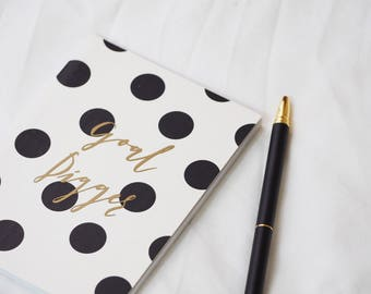 Goal Digger Notepad | Gold Foil Lettering | Black and White Polka Dot | Dotted Pages