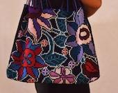 Handmade Cross Stitch Shoulder Bag l Hand Embroidery Bag l Indigenous Art of Chiapas l Mexican Folk Art l Flower Pattern l Bohemian Bag l