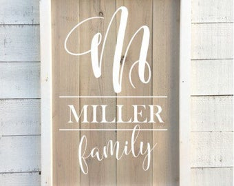 family name sign, framed vintage sign