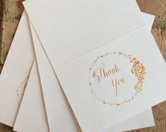 Thank you card set in rose gold