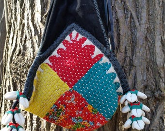 Vintage Banjara Dowry Bag up cycled, Vintage Gypsy Bag