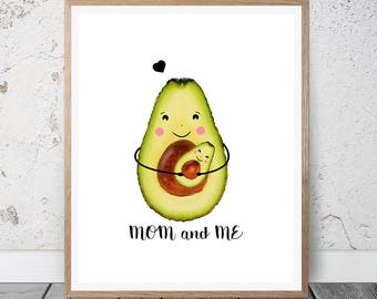 Avocado Print, Avocado Poster, Avocado Fruit, Avocado Decor, Mon and me, Avocado Kitchen Decor, Avocado Printable, Fruit Print, Wall Art