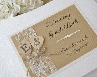 Personalised Wedding Guest Book. Handmade Wedding Guest Book. Wooden Hearts with Initials. Vintage, Country Rustic Wedding Guest Book.
