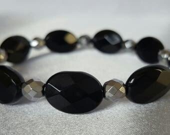 Black and Silver Onyx Bracelet