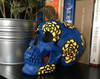Blue and Yellow Hand-Painted Skull Decor