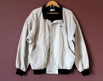 80's CHEMISE LACOSTE Jacket, Vintage Lacoste Windbreaker, Made in France Lacoste Zip Up Bomber Jacket, Men's Lacoste Casual Jacket Size 4