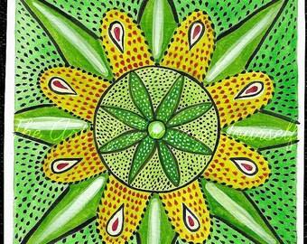 Original Painting Green Mandala Sweet Healing Pretty