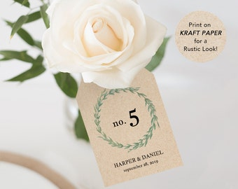 Printable Table Numbers, Wedding Table Number Printable, Table Number Tag, Wreath, DIY, PDF Template, Instant download, Botanical #SPP032tt