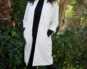 white ribbed crimpelene jacket with pockets
