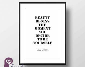 Coco Chanel Poster   Typography   Quote   Inspirational   Wall Art   Wall Decor   Home Decor   Prints   Poster   Digital Paper