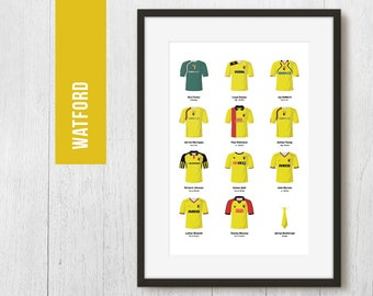 PERSONALISED Watford Team Print, Football Poster, Football Gift, FREE UK Delivery