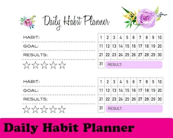 Daily habits planner, A5 insert printable, habit printable, daily habit tracker, habit tracker printable, habit tracker, habit insert