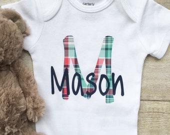 BABY BOY Monogrammed Onesie, Baby Boy Personalized Onesie,  Baby Boy Plaid Monogrammed Onesie, Baby Boy Monogrammed Bodysuit