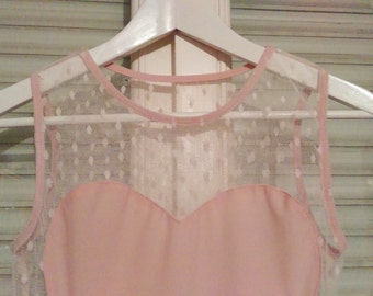 Pale pink dress with tulle size 38/M