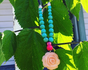 Pastel pink rose pendant green beaded necklace! Upcycled!