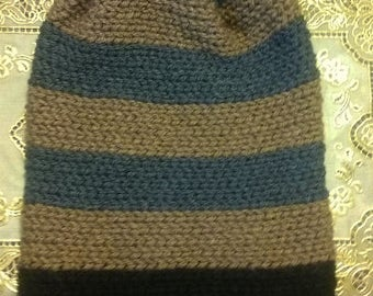 Brown, Gray and Black Slouch Beanie