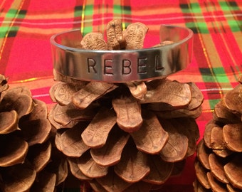 Aluminum cuff bracelet, Rebel, hand stamped, great gift idea.
