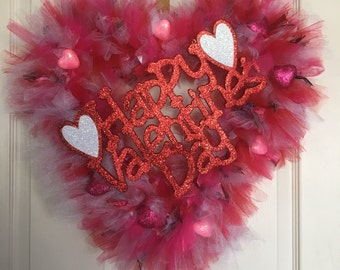 Valentine's Day Tulle and Ribbon Heart Wreath, Tulle Wreath, Heart Shaped Wreath, Happy Valentine's Day