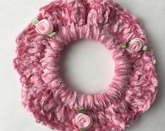 Scrunchies, Set of 2, Pink scrunchies, Crocheted Ponytail Holder, Hair Scrunchies, Girls Hair Accessory, Hair ties