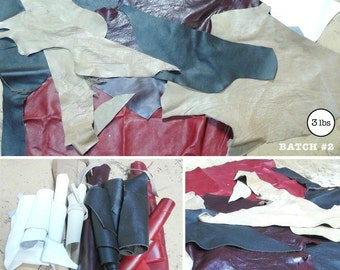 Leather Scraps (3lbs) for Crafts and Projects Batch#2