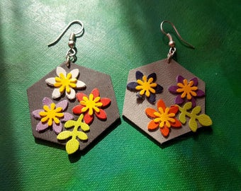 Synthetic leather spring earrings