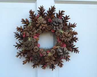 "15"" All Natural Pinecone Wreath, Rustic Pinecone Wreath, Woodland Wreath"