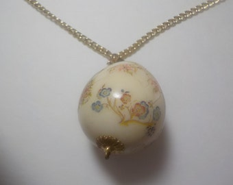 Vintage, Porcelian, Chinese, Pendant, 20 inch, Goldtone, Chain, Necklace,