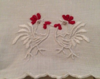 Vintage set of 8 embroidered Rooster tea napkins