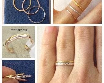 3 PSC Tri-Color Stacking Ring Set