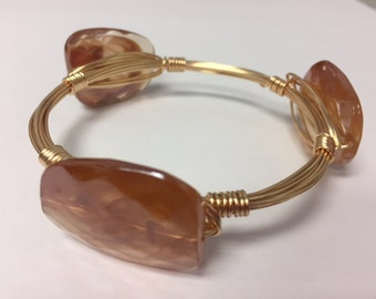 Wire Wrapped Beaded Bracelet--Tan