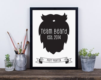 Personalised Team Beard Framed Print, Father's Day Print, Gift for Dad, Beard and Moustache, Gift for Him, Print for Him