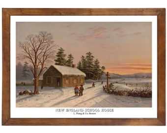 New England School House, L Prang & Co Boston, 1800s; 24x36 inch print reproduced from a vintage painting or lithograph