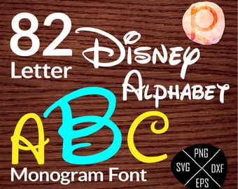 Disney font SVG cuttable Alphabet and Numberst*Disney Monogram Font svg,clipart,eps,dxf,png*Cutting Files*Cricut*Silhouette Studio*Sure Cut