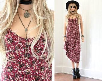 90s Floral Dress 90s Grunge Slip Dress Floral Maxi Dress Slip Dress 90s Dress Floral Dress Vintage 90s Clothing Vintage Floral Dress XS S