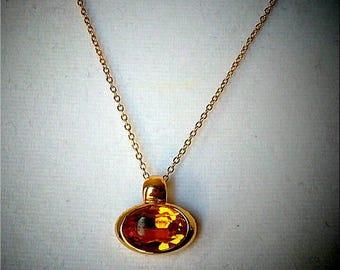 Vintage Gold Orange Glass Pendant Necklace, Accessories, Fashion Jewelry, Boutique