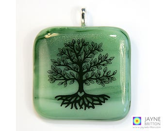 Tree of Life pendant, meditation gift, family tree jewellery, green jewelry, fused glass necklace