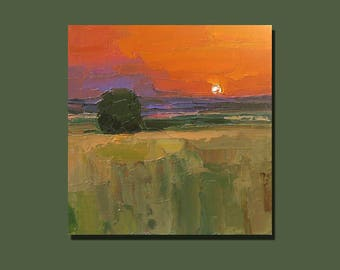 Impressionist Art Sunset Painting Landscape Original Oil Painting Bright Painting Original Artwork Gift for Him Gift for Her Knife Painting