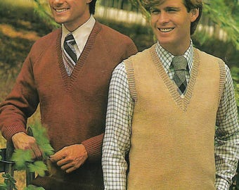 knitting pattern, pdf, men's sweater and pullover, sizes 38-46 inch, digital download, instant download