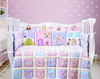 Princess nursery bedding crib set: crib bumper, cotton blanket, blanket cover, pillow case, cotton crib sheet  (016)