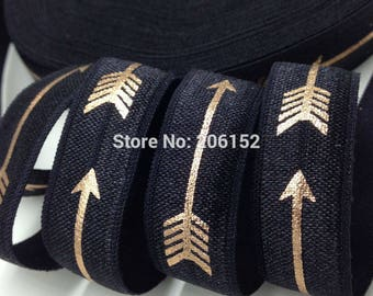 Black with Gold Foil Arrows Geometric Design FOE Fold Over Elastic 5/8th Inch 16mm - per Yard