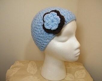 Ladies knit beanie hat w/flower crochet